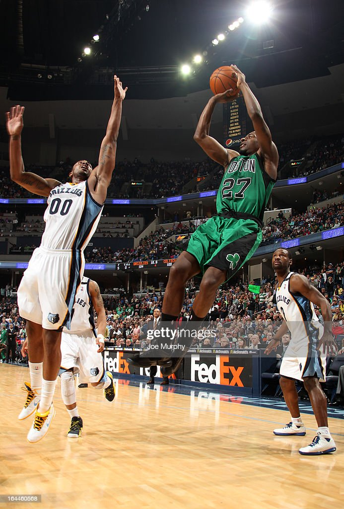 Jordan Crawford #27 of the Boston Celtics shoots against Darrell Arthur #00 of the Memphis Grizzlies on March 23, 2013 at FedExForum in Memphis, Tennessee.
