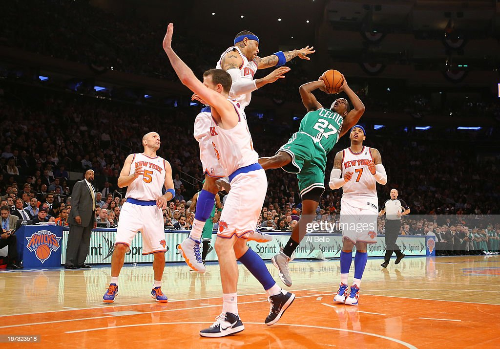 Jordan Crawford #27 of the Boston Celtics shoots against Kenyon Martin #3 of the New York Knicks during Game two of the Eastern Conference Quarterfinals of the 2013 NBA Playoffs at Madison Square Garden on April 23, 2013 in New York City.