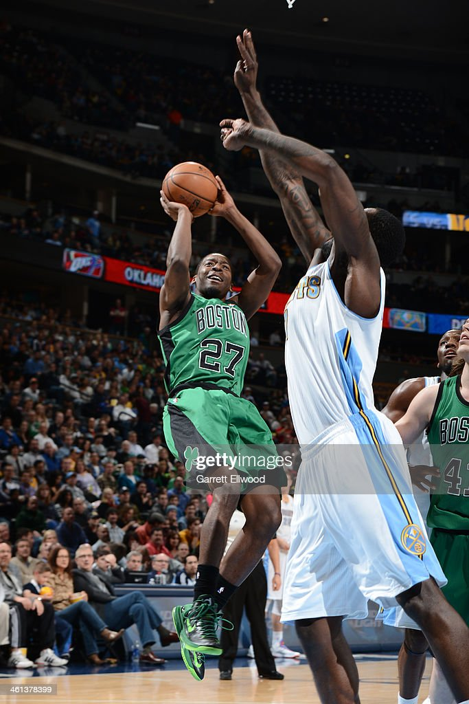 <a gi-track='captionPersonalityLinkClicked' href=/galleries/search?phrase=Jordan+Crawford&family=editorial&specificpeople=4779380 ng-click='$event.stopPropagation()'>Jordan Crawford</a> #27 of the Boston Celtics shoots against the Denver Nuggets on January 7, 2014 at the Pepsi Center in Denver, Colorado.