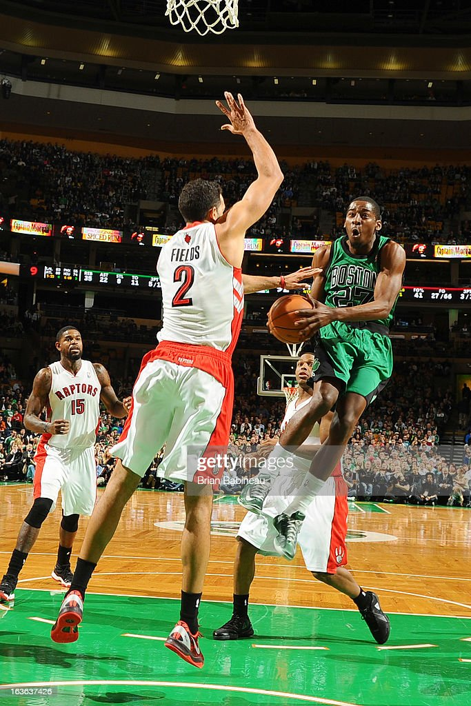 Jordan Crawford #27 of the Boston Celtics shoots the ball against the Toronto Raptors on March 13, 2013 at the TD Garden in Boston, Massachusetts.