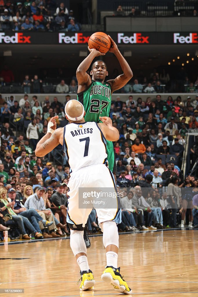 <a gi-track='captionPersonalityLinkClicked' href=/galleries/search?phrase=Jordan+Crawford&family=editorial&specificpeople=4779380 ng-click='$event.stopPropagation()'>Jordan Crawford</a> #27 of the Boston Celtics shoots the ball against the Memphis Grizzlies on March 23, 2013 at FedExForum in Memphis, Tennessee.