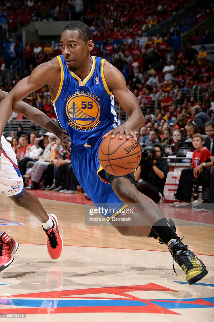 <a gi-track='captionPersonalityLinkClicked' href=/galleries/search?phrase=Jordan+Crawford&family=editorial&specificpeople=4779380 ng-click='$event.stopPropagation()'>Jordan Crawford</a> #55 of the Golden State Warriors drives against the Los Angeles Clippers in Game Seven of the Western Conference Quarterfinals during the 2014 NBA Playoffs at Staples Center on May 3, 2014 in Los Angeles, California.