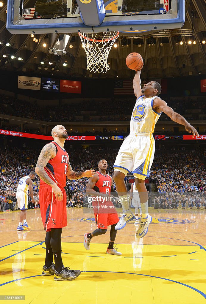 Jordan Crawford #55 of the Golden State Warriors dunks against the Atlanta Hawks on March 7, 2014 at Oracle Arena in Oakland, California.