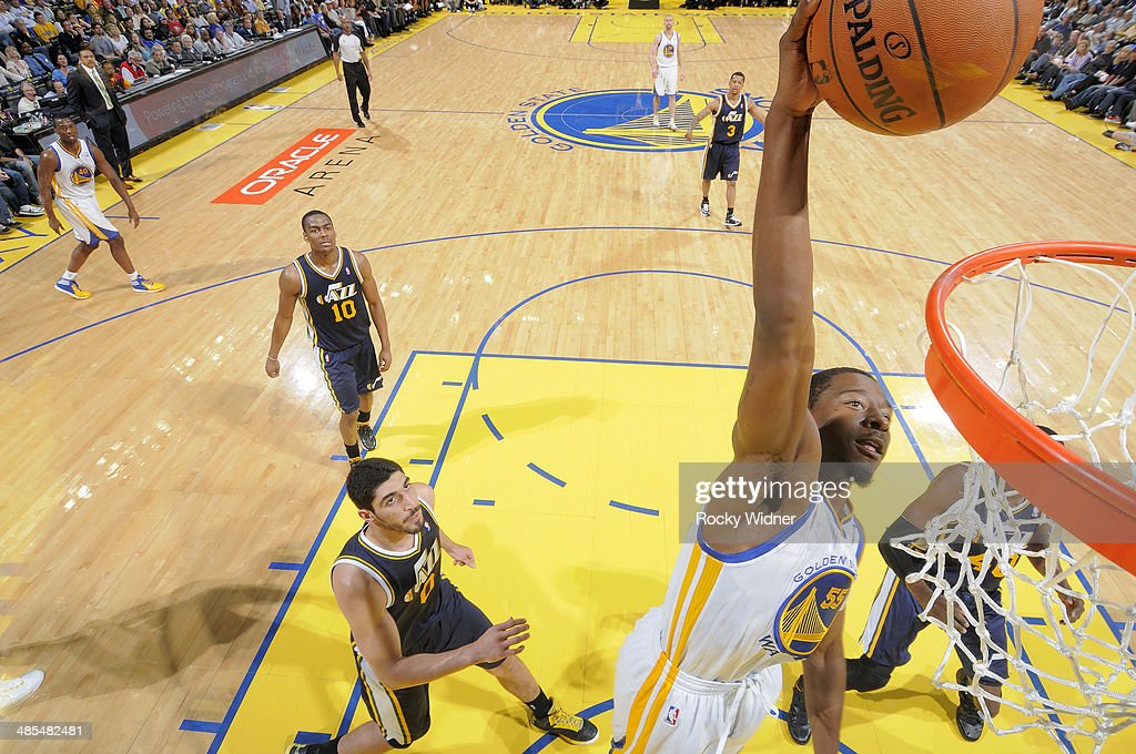 <a gi-track='captionPersonalityLinkClicked' href=/galleries/search?phrase=Jordan+Crawford&family=editorial&specificpeople=4779380 ng-click='$event.stopPropagation()'>Jordan Crawford</a> #55 of the Golden State Warriors dunks against the Utah Jazz on April 6, 2014 at Oracle Arena in Oakland, California.