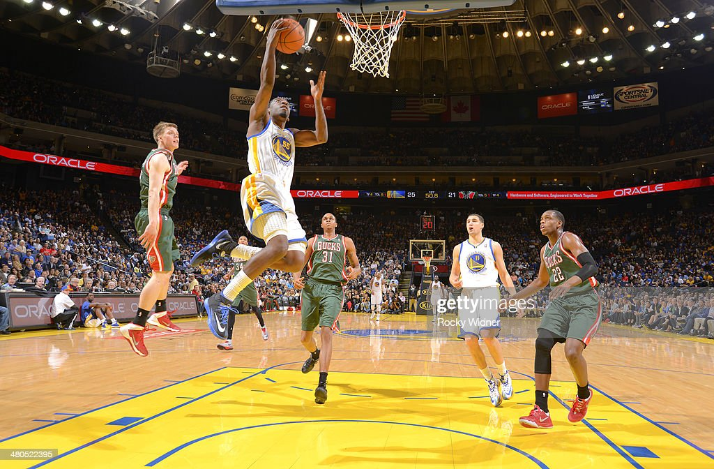 <a gi-track='captionPersonalityLinkClicked' href=/galleries/search?phrase=Jordan+Crawford&family=editorial&specificpeople=4779380 ng-click='$event.stopPropagation()'>Jordan Crawford</a> #55 of the Golden State Warriors shoots a layup against the Milwaukee Bucks on March 20, 2014 at Oracle Arena in Oakland, California.