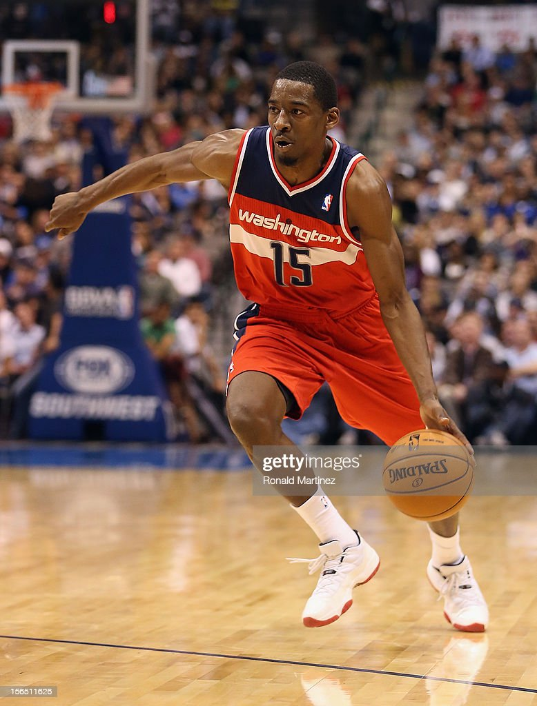Jordan Crawford #15 of the Washington Wizards at American Airlines Center on November 14, 2012 in Dallas, Texas.