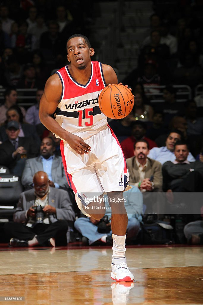 <a gi-track='captionPersonalityLinkClicked' href=/galleries/search?phrase=Jordan+Crawford&family=editorial&specificpeople=4779380 ng-click='$event.stopPropagation()'>Jordan Crawford</a> #15 of the Washington Wizards brings the ball up court against the Portland Trail Blazers at the Verizon Center on November 28, 2012 in Washington, DC.