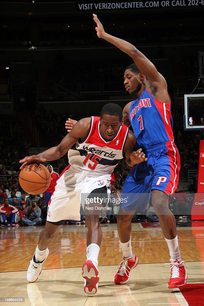 Jordan Crawford #15 of the Washington Wizards drives to the basket against Brandon Knight #7 of the Detroit Pistons during the game at the Verizon Center on December 22, 2012 in Washington, DC.