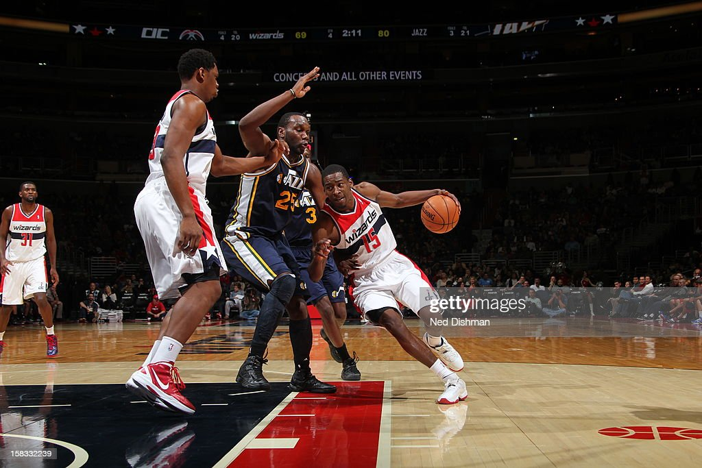 <a gi-track='captionPersonalityLinkClicked' href=/galleries/search?phrase=Jordan+Crawford&family=editorial&specificpeople=4779380 ng-click='$event.stopPropagation()'>Jordan Crawford</a> #15 of the Washington Wizards drives to the basket against the Utah Jazz at the Verizon Center on November 17, 2012 in Washington, DC.