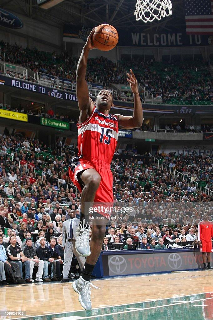 Jordan Crawford #15 of the Washington Wizards drives to the basket against the Utah Jazz at Energy Solutions Arena on January 23, 2013 in Salt Lake City, Utah.