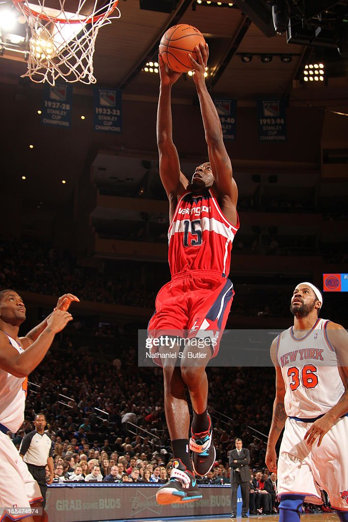 Jordan Crawford #15 of the Washington Wizards dunks the ball against the New York Knicks on November 30 2012 at Madison Square Garden in New York City.