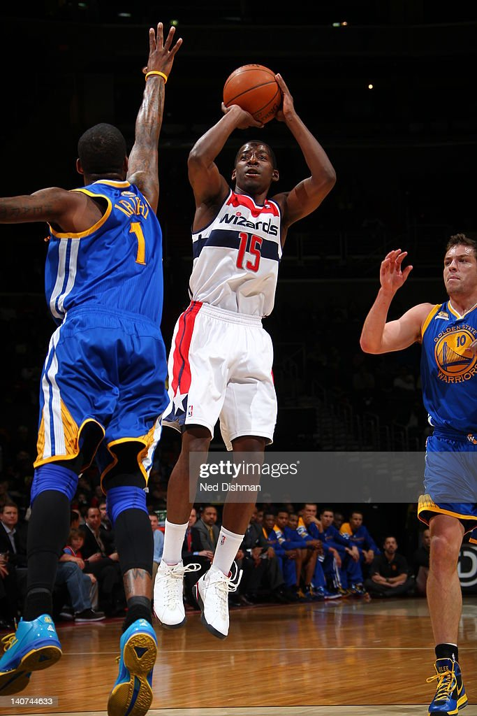 <a gi-track='captionPersonalityLinkClicked' href=/galleries/search?phrase=Jordan+Crawford&family=editorial&specificpeople=4779380 ng-click='$event.stopPropagation()'>Jordan Crawford</a> #15 of the Washington Wizards goes for a jump shot during the game between the Washington Wizards and the Golden State Warriors at the Verizon Center on March 5, 2012 in Washington, DC.