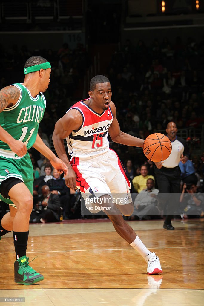 Jordan Crawford #15 of the Washington Wizards handles the ball against Courtney Lee #11 of the Boston Celtics at the Verizon Center on November 3, 2012 in Washington, DC.