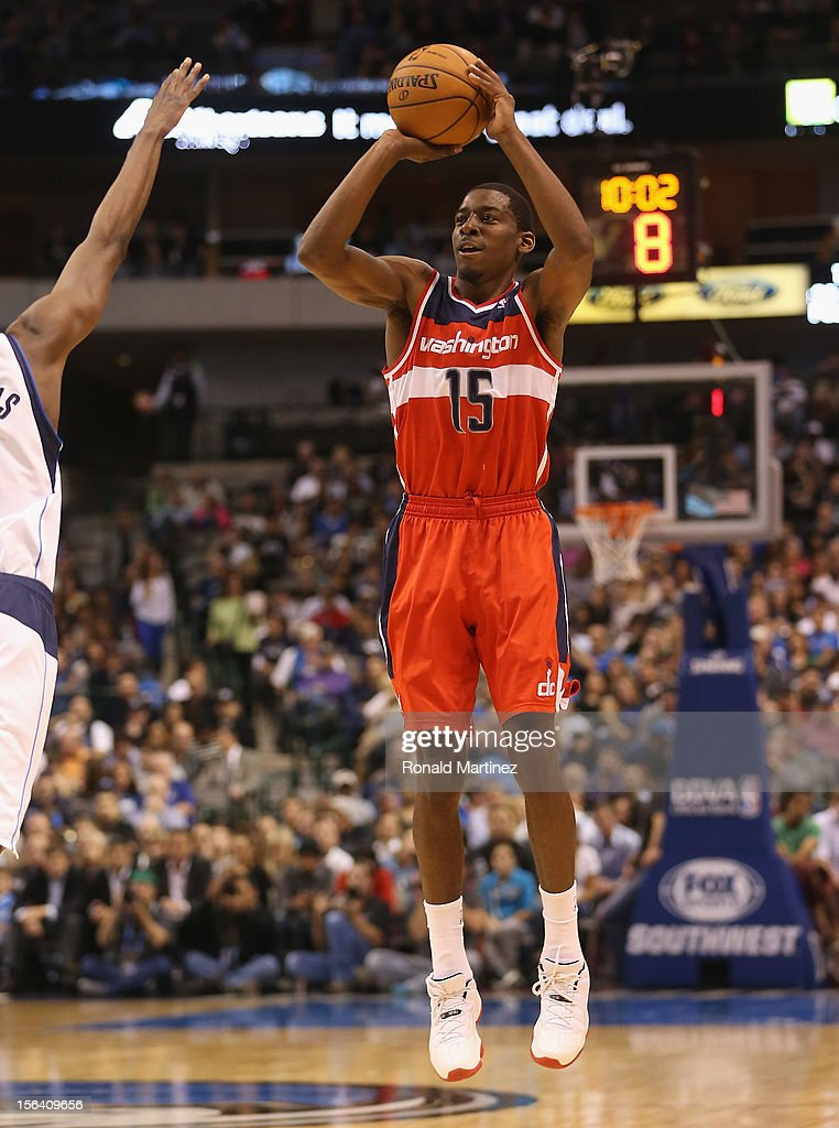 Jordan Crawford #15 of the Washington Wizards takes a shot against the Dallas Mavericks at American Airlines Center on November 14, 2012 in Dallas, Texas.