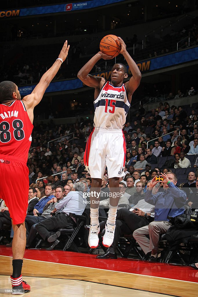 <a gi-track='captionPersonalityLinkClicked' href=/galleries/search?phrase=Jordan+Crawford&family=editorial&specificpeople=4779380 ng-click='$event.stopPropagation()'>Jordan Crawford</a> #15 of the Washington Wizards takes a shot against the Portland Trail Blazers at the Verizon Center on November 28, 2012 in Washington, DC.