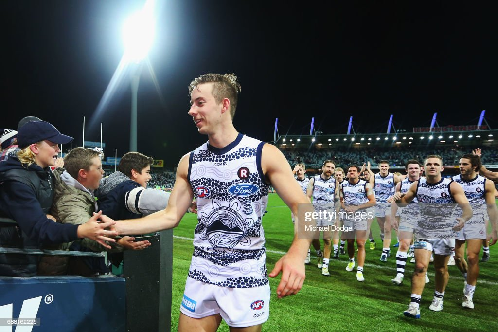 Jordan Cunico of the Cats celebrates the win during the round ten AFL match between the Geelong Cats and the Port Adelaide Power at Simonds Stadium on May 25, 2017 in Geelong, Australia.