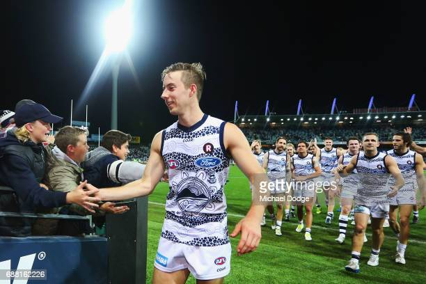 Jordan Cunico of the Cats celebrates the win during the round ten AFL match between the Geelong Cats and the Port Adelaide Power at Simonds Stadium...