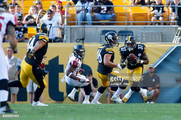Jordan Dangerfield of the Pittsburgh Steelers intercepts a pass in the second half against the Atlanta Falcons during a preseason game at Heinz Field...