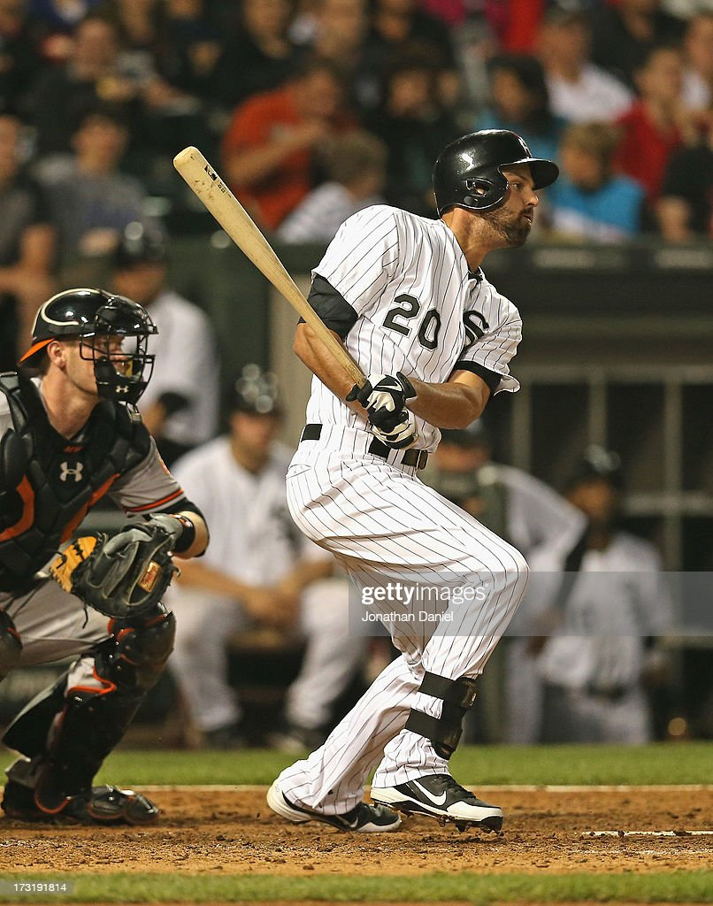 <a gi-track='captionPersonalityLinkClicked' href=/galleries/search?phrase=Jordan+Danks&family=editorial&specificpeople=2364706 ng-click='$event.stopPropagation()'>Jordan Danks</a> #20 of the Chicago White Sox bats against the Baltimore Orioles at U.S. Cellular Field on July 3, 2013 in Chicago, Illinois. The Orioles defeated the White Sox 4-2.