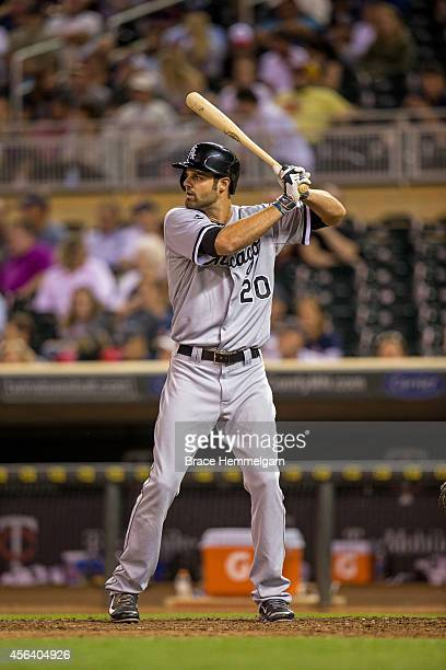Jordan Danks of the Chicago White Sox bats against the Minnesota Twins on September 2 2014 at Target Field in Minneapolis Minnesota The White Sox...