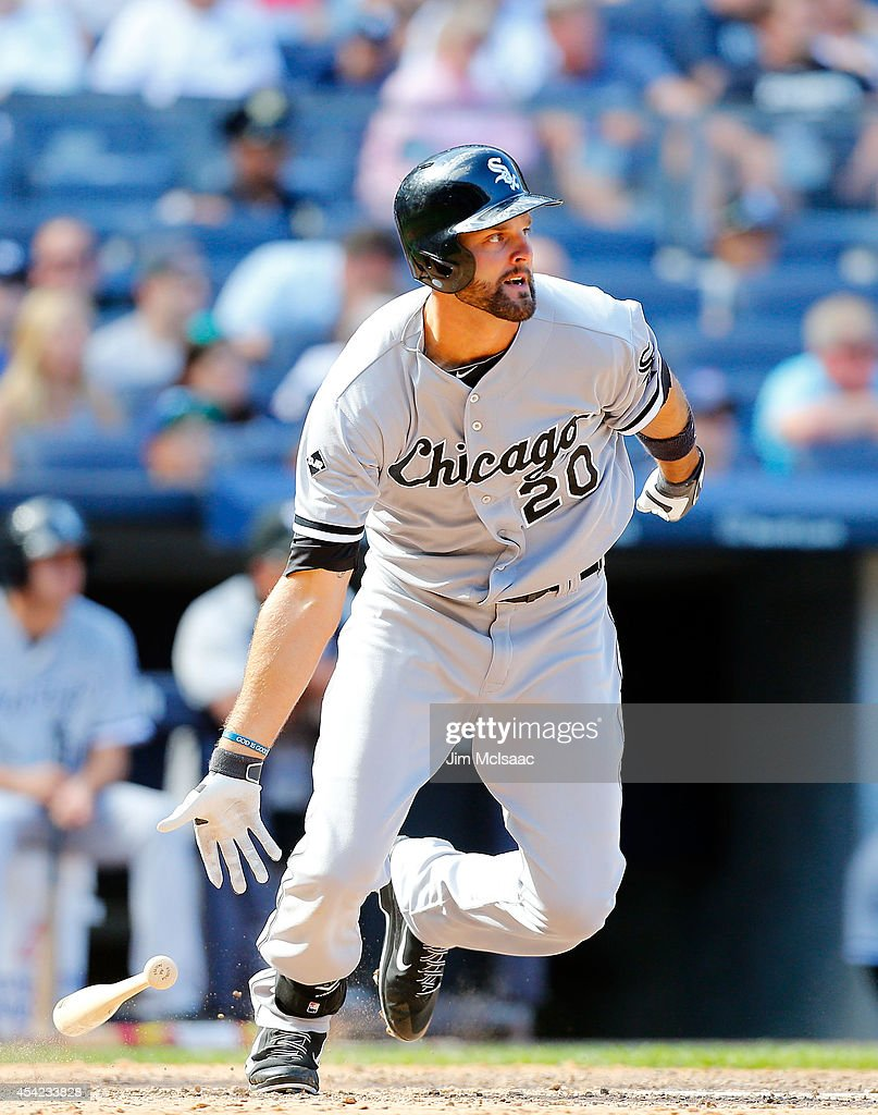 <a gi-track='captionPersonalityLinkClicked' href=/galleries/search?phrase=Jordan+Danks&family=editorial&specificpeople=2364706 ng-click='$event.stopPropagation()'>Jordan Danks</a> #20 of the Chicago White Sox in action against the New York Yankees at Yankee Stadium on August 24, 2014 in the Bronx borough of New York City. The Yankees defeated the White Sox 7-4 in ten innings.