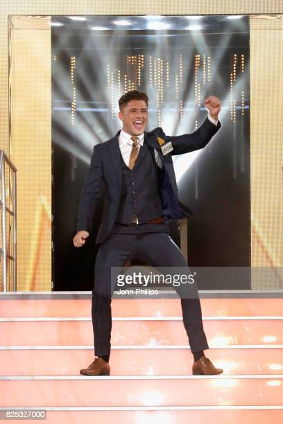 Jordan Davies enters the Big Brother House for the Celebrity Big Brother launch at Elstree Studios on August 1 2017 in Borehamwood England