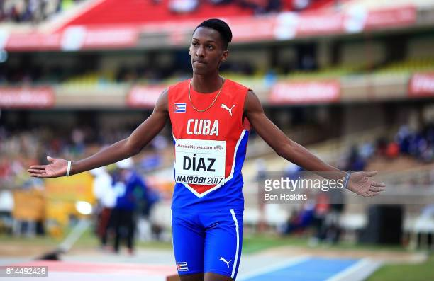 Jordan Diaz of Cuba celebrates setting a new U18 world record in the final of the boys triple jump on day three of the IAAF U18 World Championships...