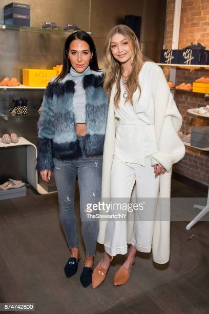Jordan Duffy and Gigi Hadid attend the Stuart Weitzman PopUp Event at Stuart Weitzman Boutique on November 15 2017 in New York City