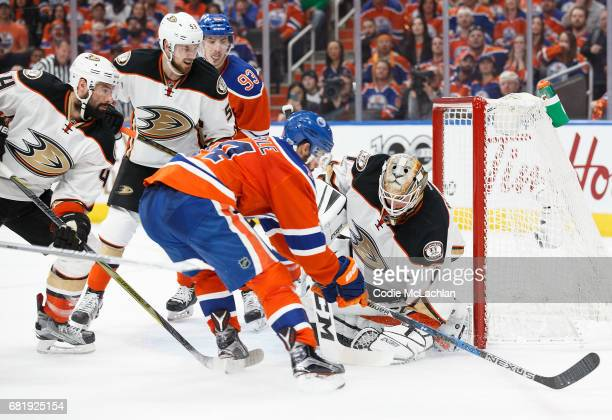 Jordan Eberle of the Edmonton Oilers can't capitalize on a chance against goalie Jonathan Bernier of the Anaheim Ducks in Game Six of the Western...