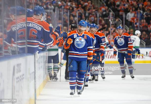 Jordan Eberle of the Edmonton Oilers celebrates a goal against the Vancouver Canucks in the first period on April 9 2017 at Rogers Place in Edmonton...