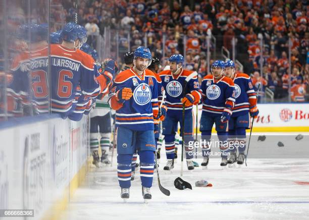 Jordan Eberle of the Edmonton Oilers celebrates a hat trick against the Vancouver Canucks on April 9 2017 at Rogers Place in Edmonton Alberta Canada...