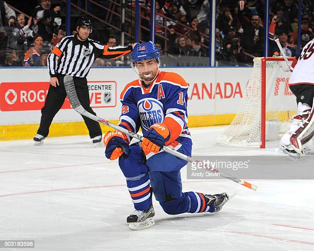 Jordan Eberle of the Edmonton Oilers celebrates after scoring a goal during the game against the Arizona Coyotes on January 2 2016 at Rexall Place in...