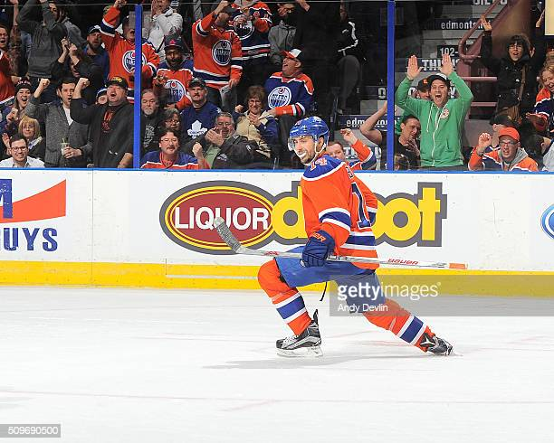 Jordan Eberle of the Edmonton Oilers celebrates after scoring a goal in the game against the Toronto Maple Leafs on February 11 2016 at Rexall Place...