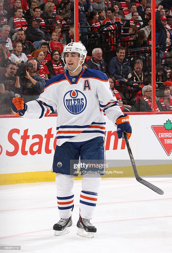 <a gi-track='captionPersonalityLinkClicked' href=/galleries/search?phrase=Jordan+Eberle&family=editorial&specificpeople=4898161 ng-click='$event.stopPropagation()'>Jordan Eberle</a> #14 of the Edmonton Oilers celebrates his second point of the first period against the Ottawa Senators during an NHL game at Canadian Tire Centre on October 19, 2012 in Ottawa, Ontario, Canada.