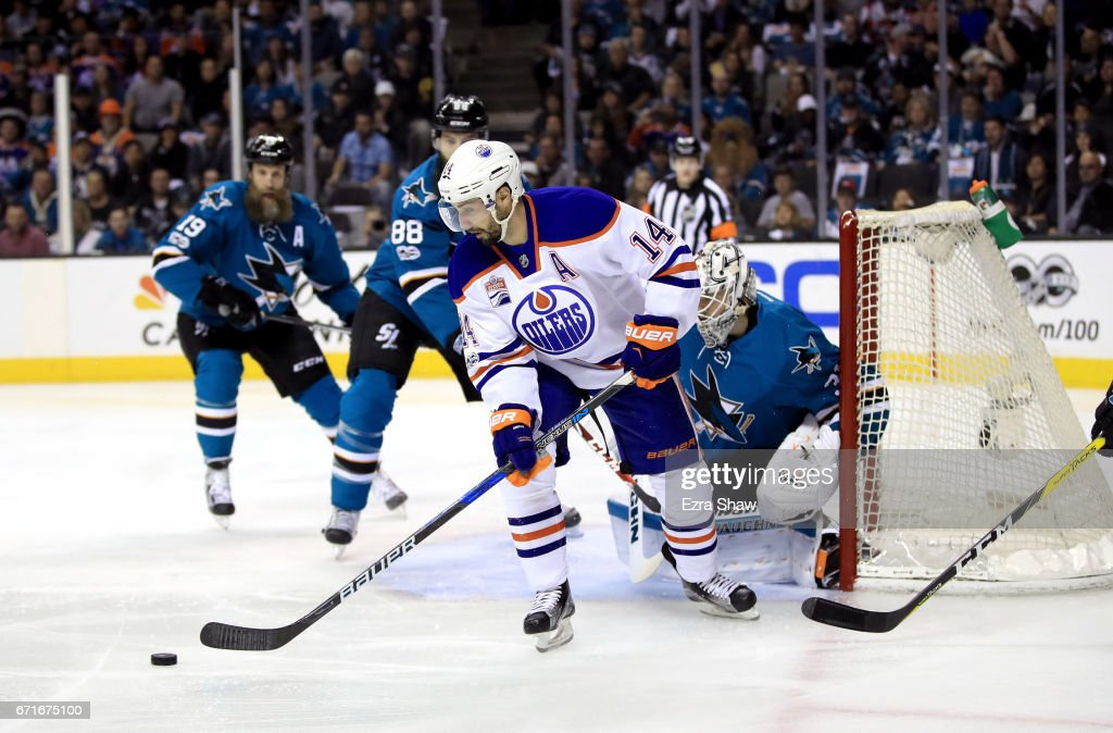 Jordan Eberle #14 of the Edmonton Oilers controls the puck in front of Martin Jones #31 of the San Jose Sharks during Game Six of the Western Conference First Round during the 2017 NHL Stanley Cup Playoffs at SAP Center on April 22, 2017 in San Jose, California.
