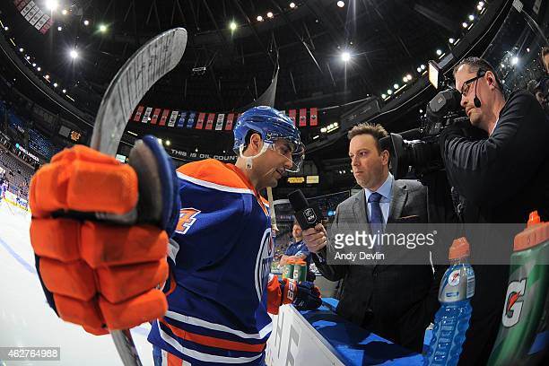 Jordan Eberle of the Edmonton Oilers gives an interview prior to the game against the Pittsburgh Penguins on February 4 2015 at Rexall Place in...