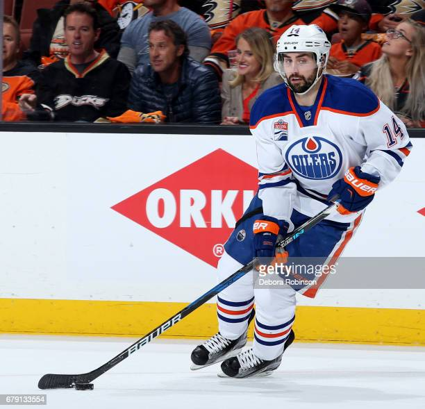 Jordan Eberle of the Edmonton Oilers handles the puck during the game against the Anaheim Ducks in Game Two of the Western Conference Second Round...