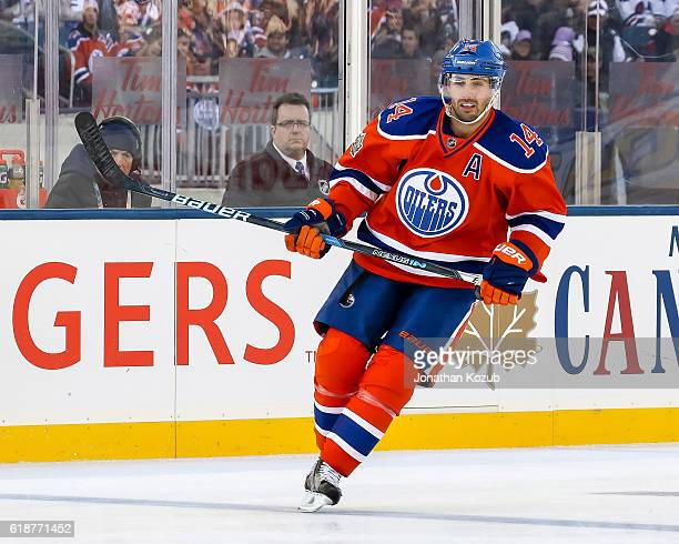 Jordan Eberle of the Edmonton Oilers keeps an eye on the play during second period action against the Winnipeg Jets in the 2016 Tim Hortons Heritage...