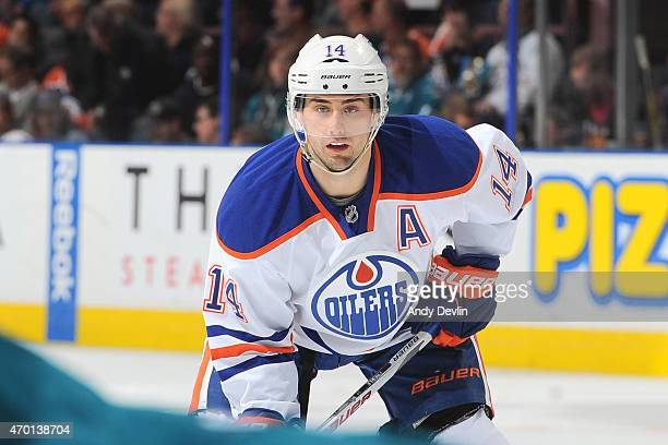 Jordan Eberle of the Edmonton Oilers lines up for a face off during the game against the San Jose Sharks on April 9 2015 at Rexall Place in Edmonton...