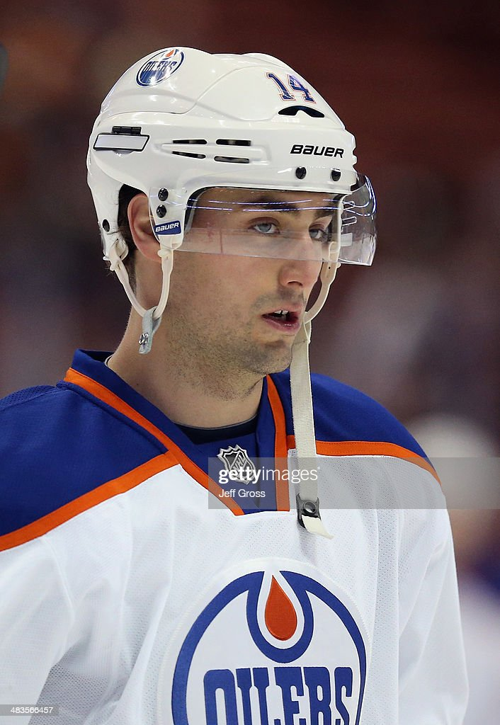 Jordan Eberle #14 of the Edmonton Oilers looks on prior to the start of the game against the Anaheim Ducks at Honda Center on April 2, 2014 in Anaheim, California.
