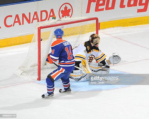 Jordan Eberle of the Edmonton Oilers scores a shoot out goal on Tuukka Rask of the Boston Bruins on December 2 2015 at Rexall Place in Edmonton...