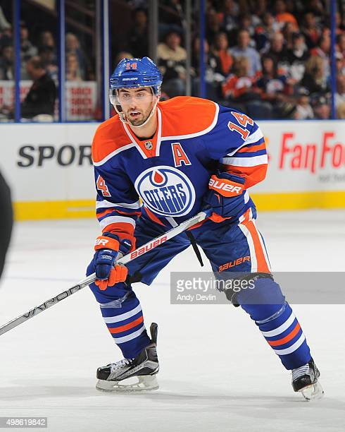 Jordan Eberle of the Edmonton Oilers skates during a game against the Pittsburgh Penguins on November 6 2015 at Rexall Place in Edmonton Alberta...