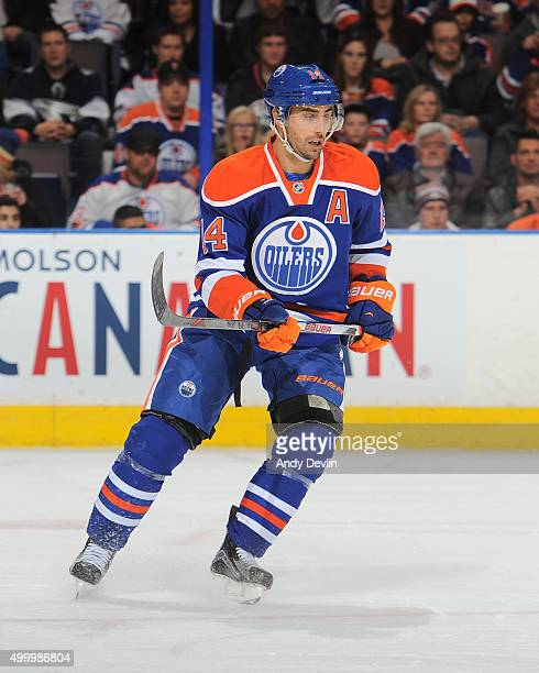 Jordan Eberle of the Edmonton Oilers skates during a game against the Dallas Stars on December 4 2015 at Rexall Place in Edmonton Alberta Canada