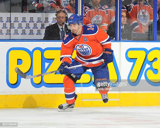 Jordan Eberle of the Edmonton Oilers skates during a game against the Winnipeg Jets on December 21 2015 at Rexall Place in Edmonton Alberta Canada