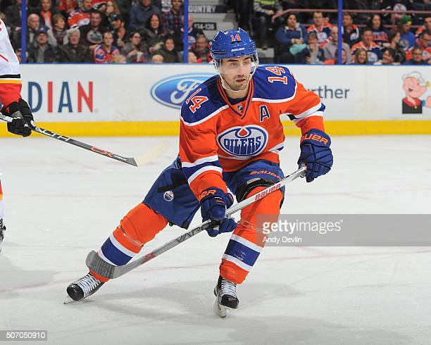 Jordan Eberle of the Edmonton Oilers skates during a game against the Calgary Flames on January 16 2016 at Rexall Place in Edmonton Alberta Canada
