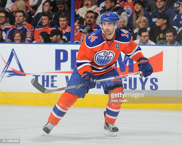 Jordan Eberle of the Edmonton Oilers skates during a game against the Toronto Maple Leafs on February 11 2016 at Rexall Place in Edmonton Alberta...