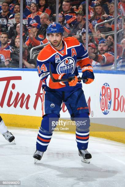Jordan Eberle of the Edmonton Oilers skates during the game against the Los Angeles Kings on March 28 2017 at Rogers Place in Edmonton Alberta Canada