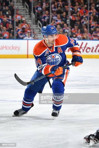 Jordan Eberle of the Edmonton Oilers skates during the game against the Los Angeles Kings on March 20 2017 at Rogers Place in Edmonton Alberta Canada