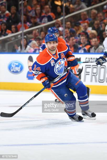 Jordan Eberle of the Edmonton Oilers skates during the game against the Vancouver Canucks on April 9 2017 at Rogers Place in Edmonton Alberta Canada