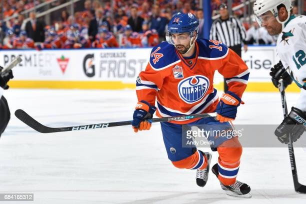 Jordan Eberle of the Edmonton Oilers skates in Game Five of the Western Conference First Round during the 2017 NHL Stanley Cup Playoffs against the...